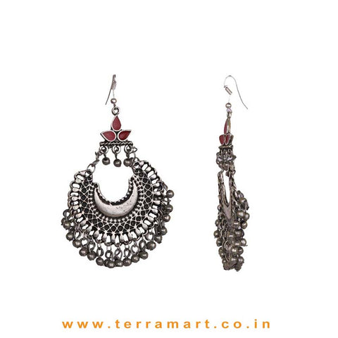 Chandbali Metal Hook Earrings With Dangling Metal Beads - Terramart Jewellery