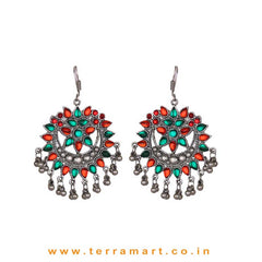Orange & Green Colour Stoned Oxidized Metal Hook Earrings - Terramart Jewellery