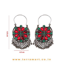Red & Orange Colour Stoned Oxidized Metal Hoop Earrings - Terramart Jewellery
