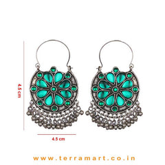 Green Colour Stoned Oxidized Floral Metal Hoop Earrings - Terramart Jewellery