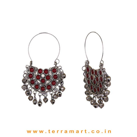 Maroon Colour Stoned Oxidized Metal Hoop Earrings With Dangling Metal Beads - Terramart Jewellery