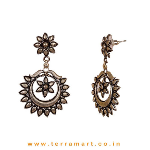Floral Chandbali Oxidised Studded Metal Earrings - Terramart Jewellery
