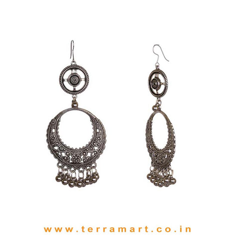 Floral Motifs Oxidised Statement Earrings - Terramart Jewellery