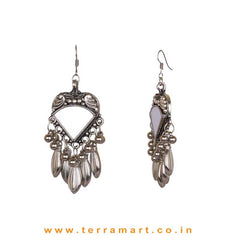 Pretty Mirror Work Oxidized Metal Hook Dangler - Terramart Jewellery