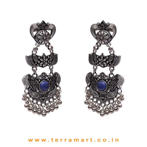 Oxidized Grand Black Metal Earrings With Blue Colour Stone & Dangling Beads - Terramart Jewellery