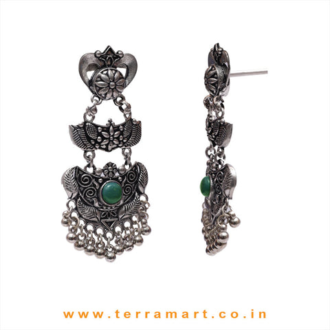 Oxidized Grand Black Metal Earrings With Green Colour Stone & Dangling Beads - Terramart Jewellery