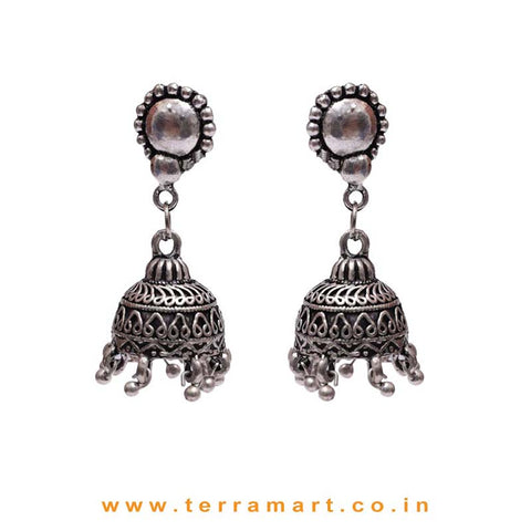 Casual Daily Wear Metal Jumkas With Dangling Beads - Terramart Jewellery
