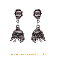 Casual Daily Wear Metal Jumkas With Dangling Beads