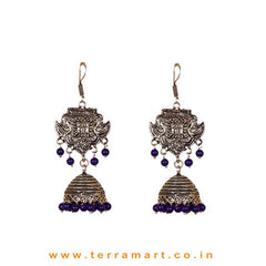 Ethnic Designed Black Metal Jumkas With Navyblue Color Beads
