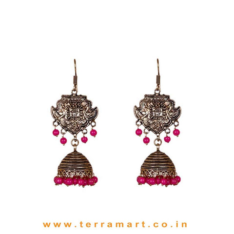 Ethnic Designed Black Metal Jumkas With Pink Color Beads - Terramart Jewellery