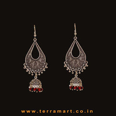 Dainty Oxidized Metal Long Jumka Set With Black & Red Colour Beads