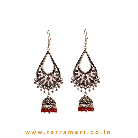 Dainty Oxidized Metal Long Jumka Set With Red Colour Beads - Terramart Jewellery
