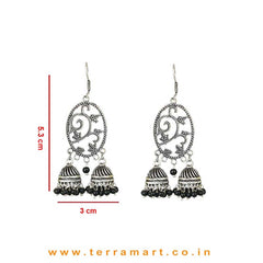 Attracting Floral Designed Metal Jumka Set With 2 Double Jumkas & Black Beads - Terramart Jewellery