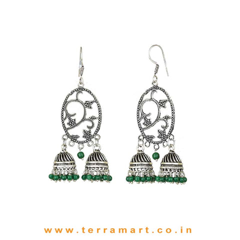 Attracting Floral Designed Metal Jumka Set With 2 Double Jumkas & Green Beads