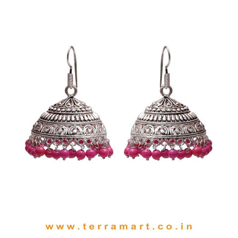 Fabulous Designed Big Black Metal Jumkas With Pink Colour Beads