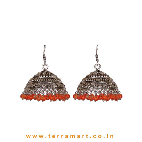 Fabulous Designed Big Black Metal Jumkas With Orange Colour Beads