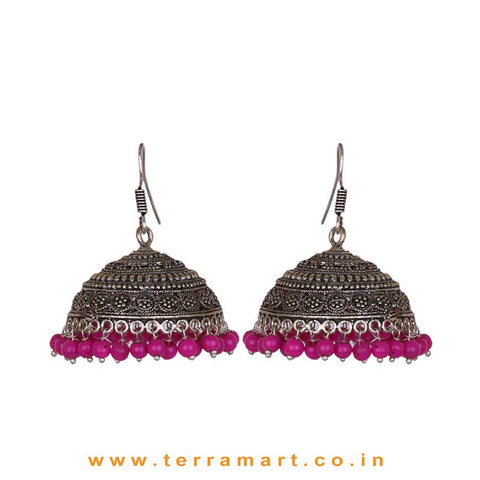 Fabulous Designed Big Black Metal Jumka Set With Pink Beads
