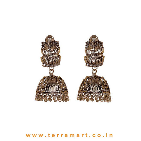 Lakshmi Designed Oxidized Black Metal Temple Jumka Set