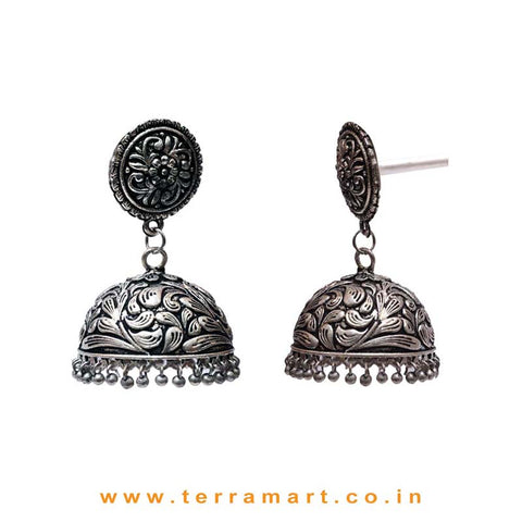 Lovely Oxidized Black Metal Jumka Set With Dangling Metal Beads
