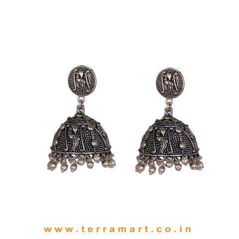 Parrot Designed Oxidized Metal Jumka Set With Metal Beads