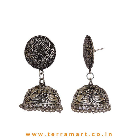 Grand Oxidized Black Metal Jumka Set With Metal Beads