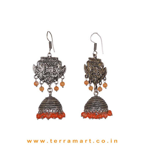 Ethnic Designed Black Metal Jumkas With Orange Color Beads