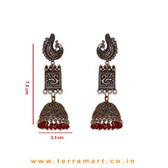 Peacock Designed Long Black Metal Jumka Set With Red Beads - Terramart Jewellery
