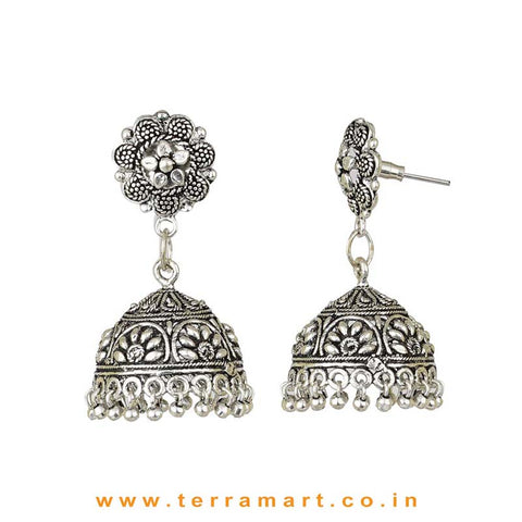 Amazing Floral Oxidized Black Metal Jumka Set With Metal Beads