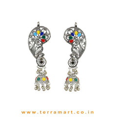 Mango Designed Black Metal Full Ear Cuff Jumka Set With Green, Yellow & Red Colour Stones