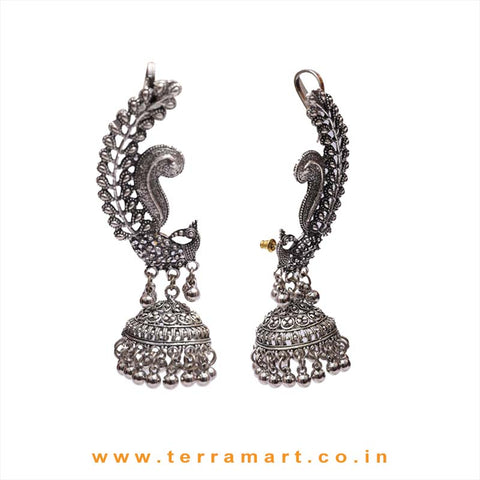 Peacock Designed Oxidized Black Metal Full Ear Cuff Jumka Set With Dangling Beads