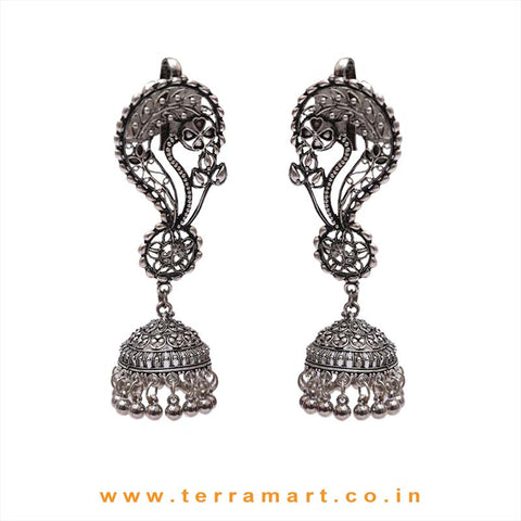 Floral Designed Oxidized Full Ear Cuff Metal Jumka Set