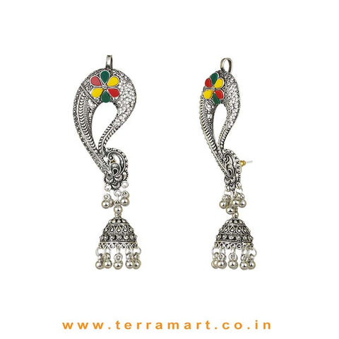 Oxidized Black Metal Full Ear Cuff Jumka Set With Green, Yellow & Red Colour Stones