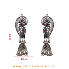 Peacock Designed Oxidized Black Metal Full Ear Cuff Jumka Set With Green & Red Enamel Work - Terramart Jewellery