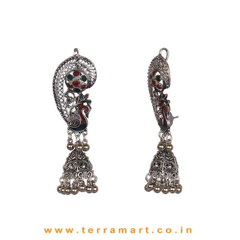 Peacock Designed Oxidized Black Metal Full Ear Cuff Jumka Set With Green & Red Enamel Work
