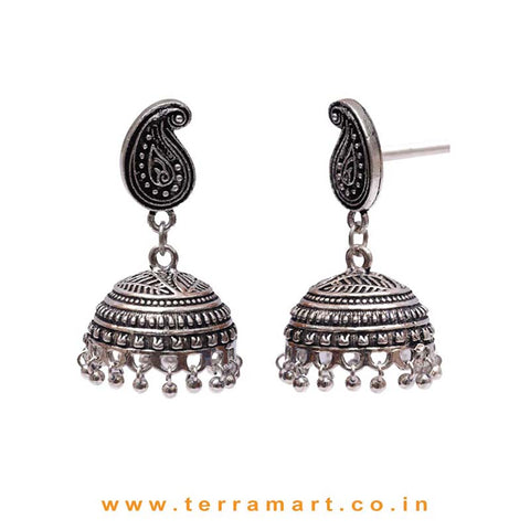 Fabulous Mango Designed Oxidized Black Metal Jumka Set