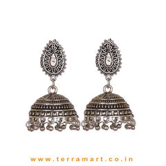 Fantastic Oxidized Black Metal Jumka Set - Terramart Jewellery