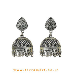 Wondrous Oxidized Black Metal Jumka Set - Terramart Jewellery