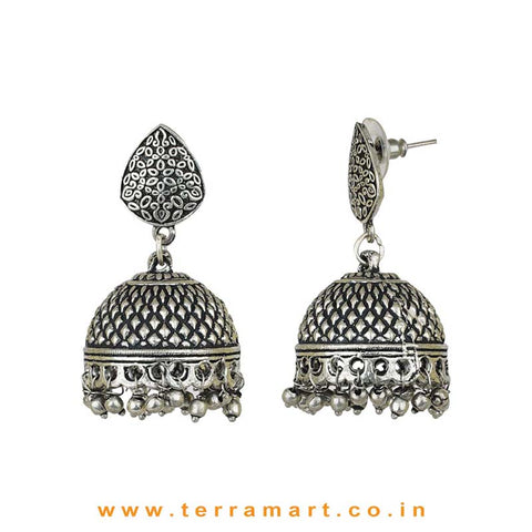 Wondrous Oxidized Black Metal Jumka Set