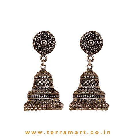 Beautifully Designed Oxidized Black Metal Jumka Set