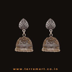 Pretty Oxidized Black Metal Jumka Set - Terramart Jewellery