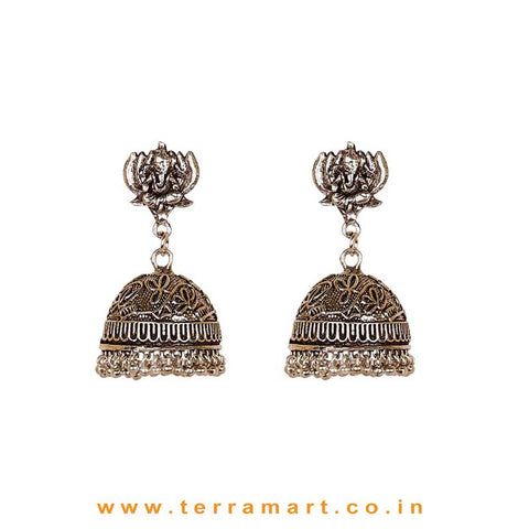 Oxidized Black Metal Jumka Set With Lord Ganesha In Lotus Design