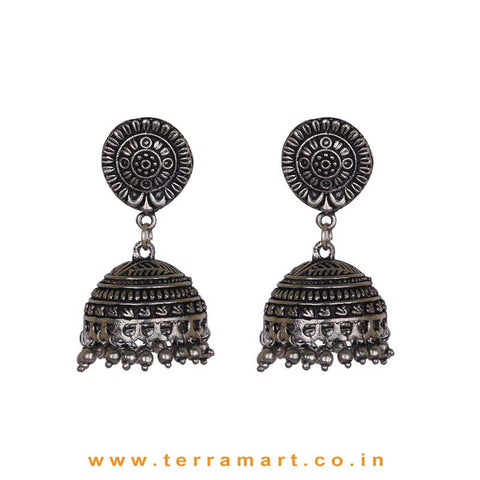 Graceful Oxidized Black Metal Jumka Set