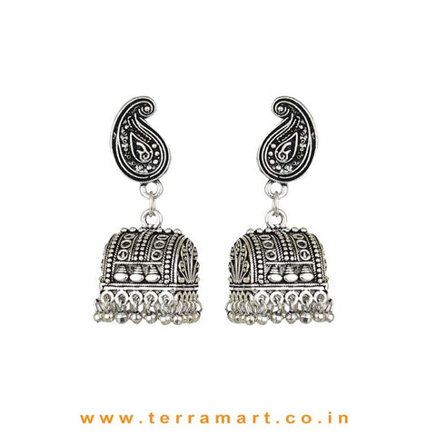 Palanquin Designed Oxidized Black Metal Jumka Set