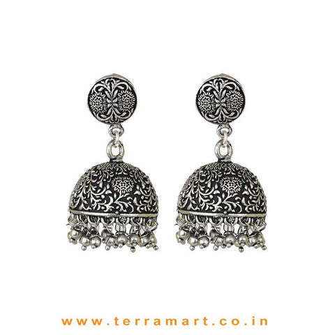 Superbly Garden Designed Oxidized Black Metal Jumka Set