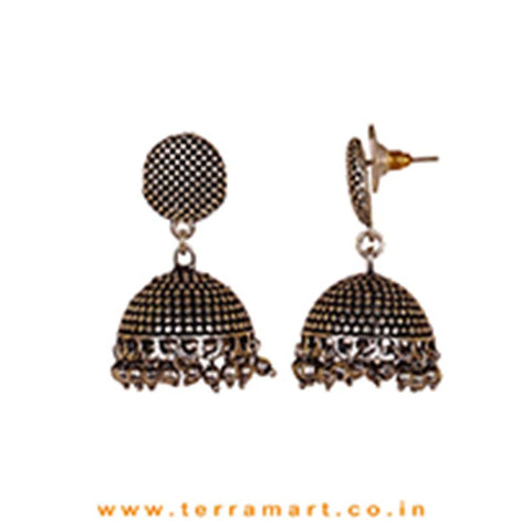 Superbly Dotted Designed Oxidized Black Metal Jumka Set