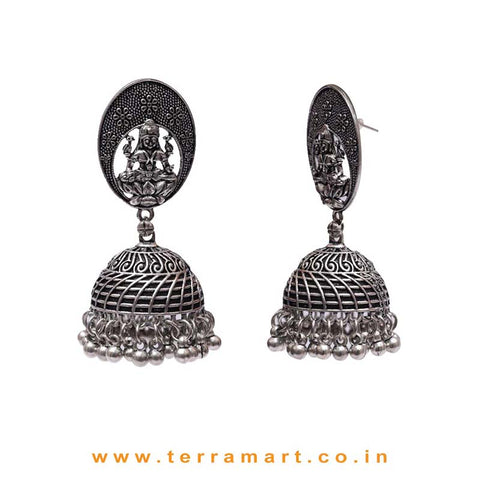 Lakshmi Designed Oxidized Black Metal Jumka With Checks