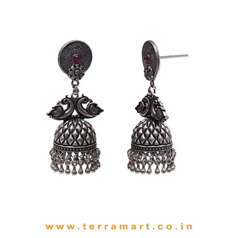 Classy Black Metal Jumka Set With Red Stone & Dangling Metal Beads