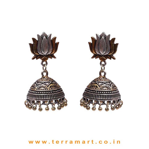Big Lotus Studded 2 Tonned Black Metal Jumka Set