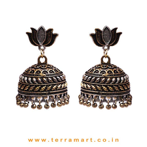 2 Tonned Black Metal Jumka Set With Small Lotus Stud & Big Jumkas