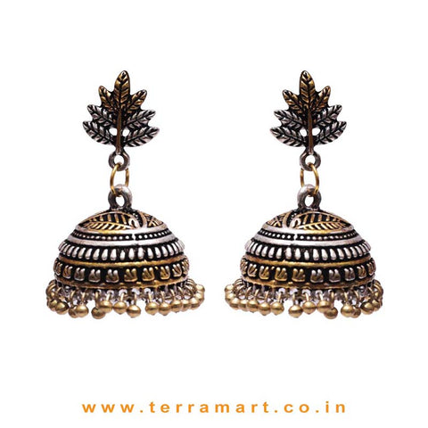 Leaf Designed 2 Tonned Black Metal Jumka Set With Metal Beads